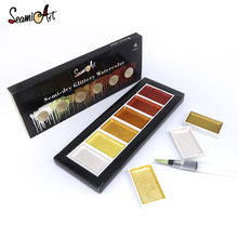 Get more info on the SeamiArt 6Color Cool/Warm/Metallic Watercolor Paint Set for Artist Drawing Glitter Paint Water Color Pan Pigment Art Supplies