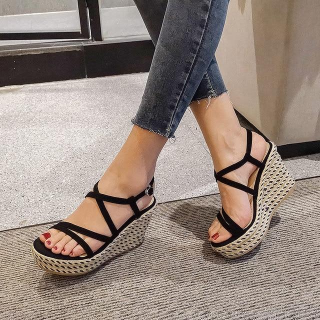 Donna in Hemp Rope Weave Women Sandals Platform Wedges Real Leather High Heel Sandals Womens Summer