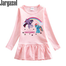 Jargazol Christmas Dress Girl Costume Toddler Kids Long Sleeve Little Pony Dress Fall Cute Party Little Girls Outfits Vestidos(China)