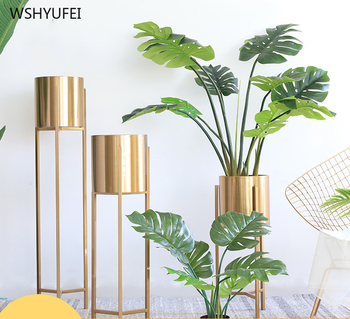 Upgrade new simple light luxury home golden vase villa flower arrangement metal flower floor decoration flower decoration