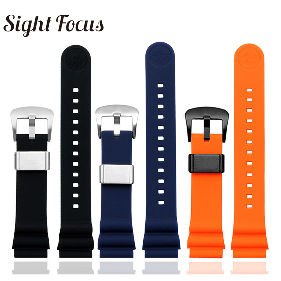 <font><b>20mm</b></font> 22mm Diver Silicone Rubber Watch Strap for <font><b>Seiko</b></font> Prospex SKX007 Tuna Sumo Turtle <font><b>Watchband</b></font> Metal Keeper Watch Band Bracelet image