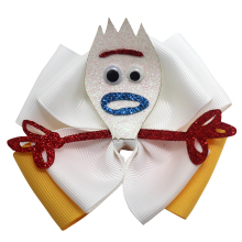 4 inch Toy Story Forky Hair Bow fork hair bows Fork has a tan and white glitter Crocodile clip accessories