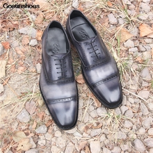 Goodyear Versatile Casual Shoes Lace-up Oxford Shoes Formal Wear Business Leather Genuine Leather Oxfords Men Sole Men Handmade goodyear handmade shoes men s formal wear business shoes leather men s shoes leather was settled