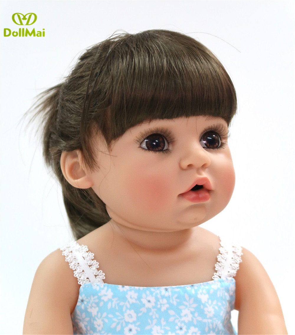 DollMai Bebe Reborn Twins Girl 56cm Full Vinyl Silicone Reborn Baby Realistic Reborn Toddler Playmate Doll Gift