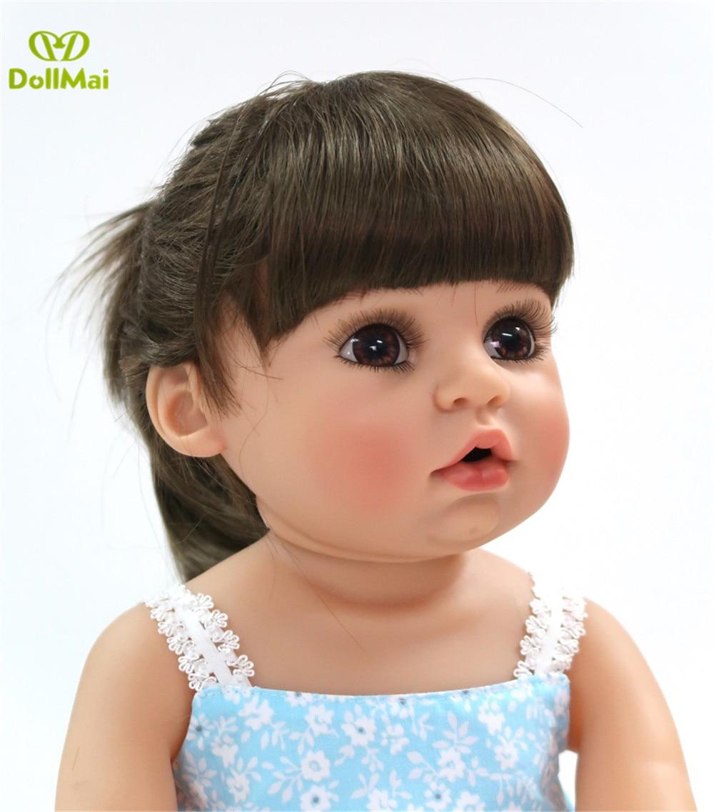 DollMai Bebe Reborn Twins Girl 56cm Full Vinyl Silicone Reborn Baby Realistic Reborn Toddler Playmate Doll Gift