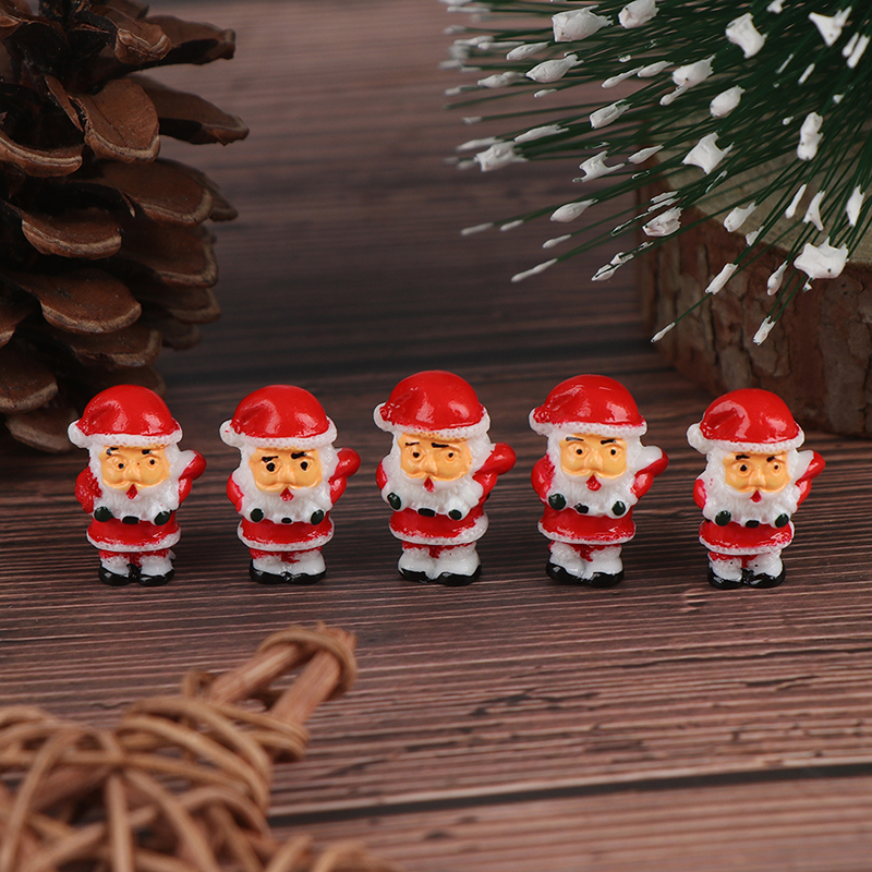 5PCS Lovely Mini Christmas Model Decoration Figure Toy Santa Claus Snowman DIY Resin Craft Small Ornaments