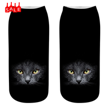 Popular Style Women Sock 3D Novelty Crazy Funny Cat Ankle Socks Cute Colorful Cartoon Low Cut Socks Lovely Socquette Meias #ZD(China)