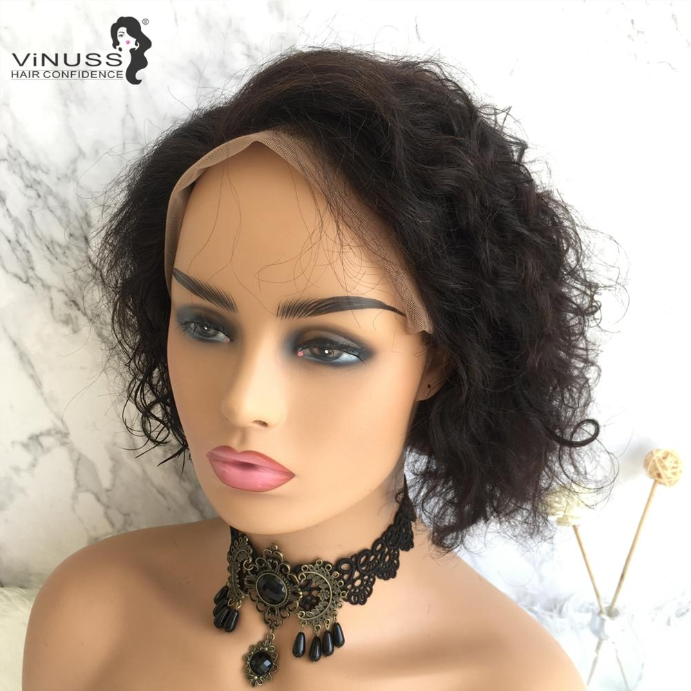 Pixie Cut Lace Wig Short Curly Bob Human Hair Wigs Brazilian Remy For Black Women Lace Front Wig Side Part Pre Pulked Vinuss