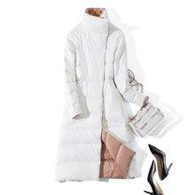 Женское зимнее пальто, стоячий воротник, белый утиный пух, внутренний, Женский светильник, длинная куртка, пальто, Женское пальто, Casaco Feminino Parkas