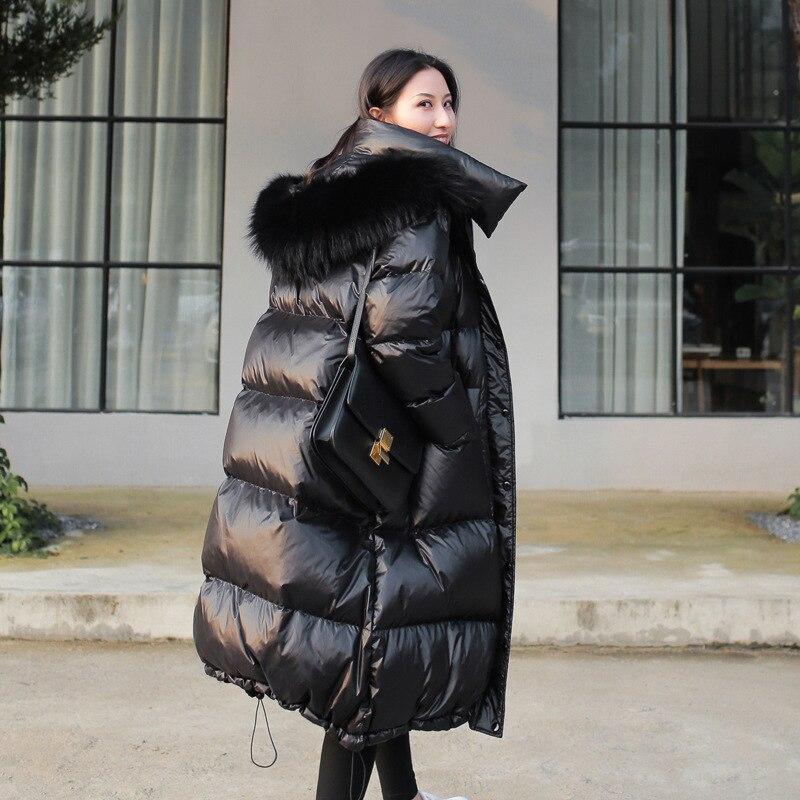 Vangull czarny błyszczący kurtka zimowa dla kobiet duże