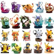 Pokemon ação anime figura pikachu cosplay conjunto de uma peça modelo coletar charizard gengar bulbasaur pokemon brinquedo para crianças presente