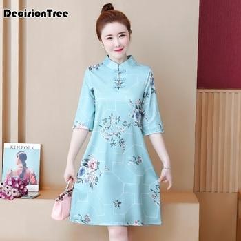 2020 elegant lady qipao vintage mandarin collar chinese dress classic print flower sexy cheongsam short sleeve vestidos фото