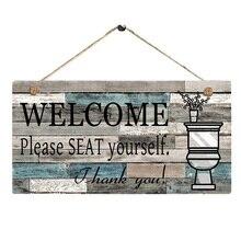 Placa de artesanía de madera para baño con impresión de letras DIY con logotipo Vertical, decoración Rectangular hecha a mano, cartel colgante de bienvenida, arte para pared