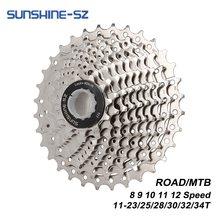 Luz do sol estrada bicicleta 8 9 10 11 12 velocidade velocidade velocidade 11-23t/25t/28t/30t/32t/34t bicicleta cassete roda livre mtb roda dentada para shimano