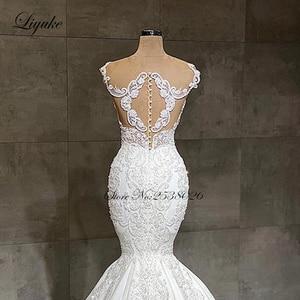 Image 4 - Liyuke 2020 Designer Mermaid wedding dress real work full beading bridal make up