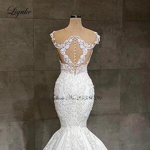 Image 4 - Liyuke 2020 projektant syrenka suknia ślubna prawdziwa praca całe z koralików suknia ślubna makijaż