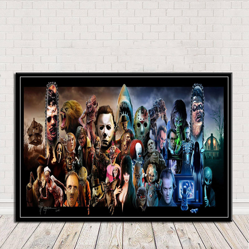Poster Wall Art Halloween Star Horror Movie Picture Print Canvas Template Block Painting Living Room Decoration Frame
