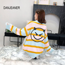 DANJEAN Smile Face Knitted Sweaters Korean Style Striped Long Pullovers Casual Autumn Winter Knitwear Pull Femme Sueter Mujer