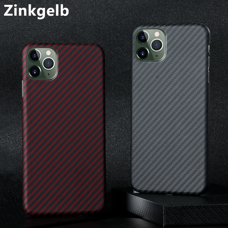 for iPhone 11 Pro Max Cover Case Luxury Slim Hard Real Matte Carbon Fiber Shockproof Armor Phone Case for iPhone 11 Back Cover