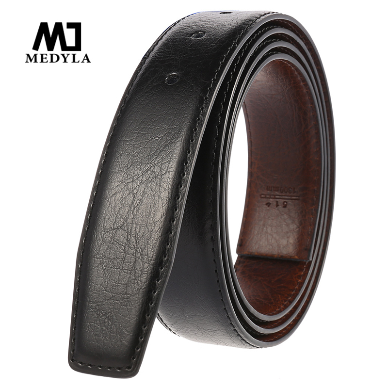 MEDYLA Brand Men's Business Belt Without Buckle Natural Leather Unique Texture 2 Sides Can Be Used Business Belt Men Accessories