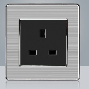 86 type LED random point USB switch mirror acrylic  household  stainless steel  brushed panel 4 Gang 2 Way switch Socket German 22