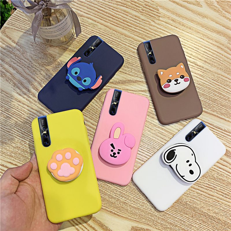 Silicone Cartoon Phone Holder <font><b>Case</b></font> For <font><b>Vivo</b></font> V15 V5 V9 V11i <font><b>Pro</b></font> Lite Plus <font><b>V17</b></font> NEO Girl Cute Stand Covers Protective image