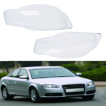 Car Clear Headlight Lens Cover Replacement Headlight Headlamp Shell Cover For-Audi A4 B7 2006 2007 2008
