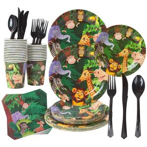 Jungle Animal Party Supplies Safari Birthday Theme Plates Cups Napkins Sets Cutlery Decorations for Kids Animals Baby Shower
