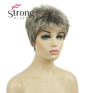 Image 2 - قوية الجمال قصيرة شعر مستعار الاصطناعية شقراء مع الفضة الباروكات الكاملة لسيدة النساء