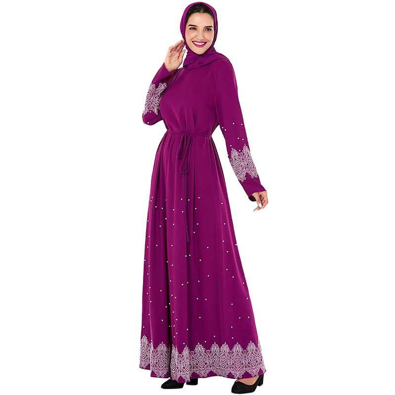 Muslim Women Long Sleeve Dubai Hijab Gold Velvet Purple Dress Arabic Kaftan Abaya Modest Islamic Turkey Jalabiya Dress Plus Size