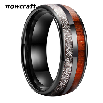 8mm Black Tungsten Carbide Ring for Men Women  Wedding Band Real Koa Wood Meteorite Inlay Couple Rings Rose Gold Silver Colors
