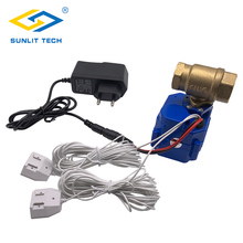 Water Leakage Sensor with DN15 Valve Protection Against Water Flood Alert Leaking Detector For SmarT Home Security Alarm System professional water flood sensor alarm system with 1 dn25 bsp brass valve for smart home protection water leak detector
