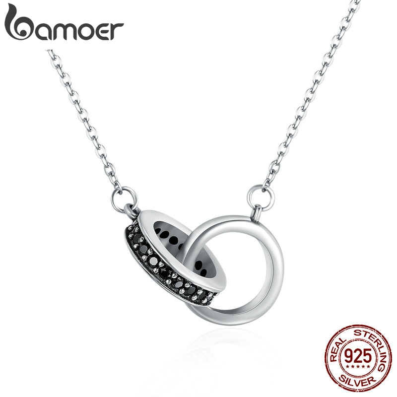 BAMOER Authentic 925 Sterling Silver Circle In Circle Black CZ Pendant Necklaces For Women Sterling Silver Jewelry Gift SCN147