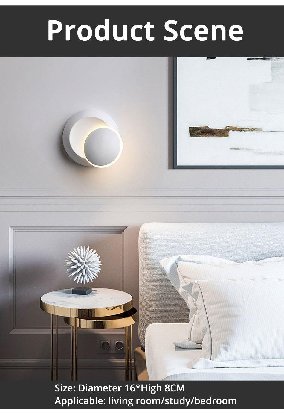 lâmpada de parede preto moderno corredor lâmpada redonda