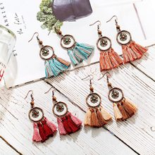 цена на 2020 Summer Tassel Jhumka Earrings For Women Round Alloy Drop Earrings Boho Dangle Earrings Pendiente