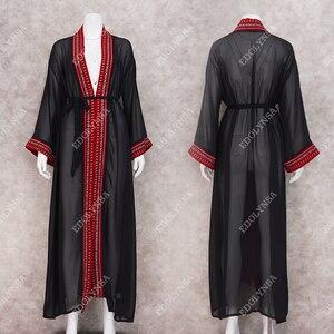 Image 4 - 2020 セクシーな刺繍ロング着物カーディガン白シフォンチュニックプラスサイズのビーチウェア女性のトップスやブラウスN1038