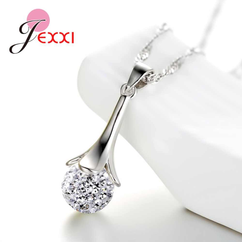 New Hot Luxury 925 Sterling Silver Austrian Crystal Zircon Pearl Pendants Necklace Earrings Jewelry Set for Women Gifts