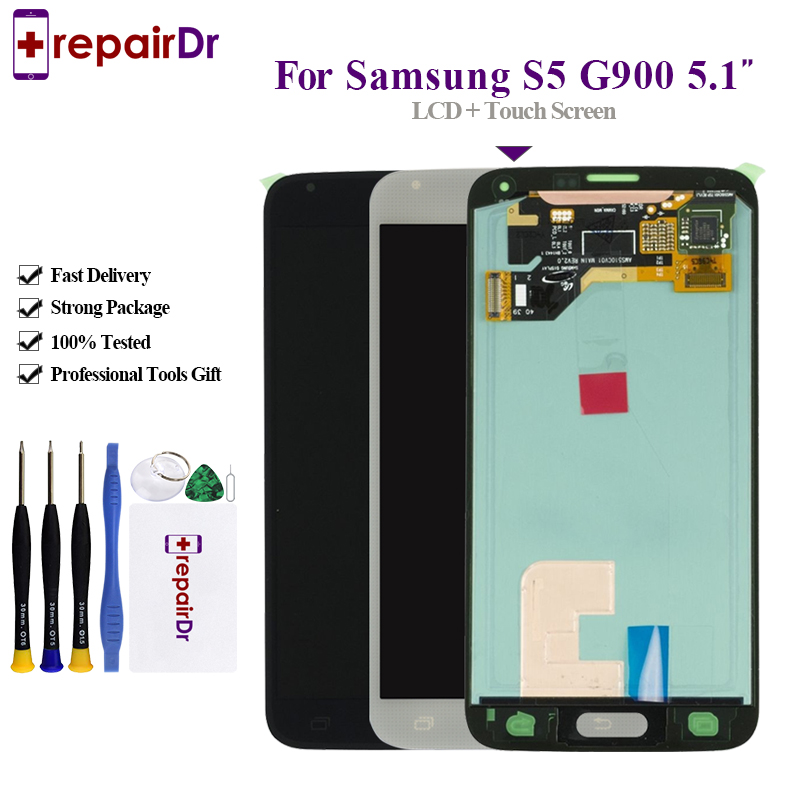 Original Lcd For SAMSUNG Galaxy S5 G900F <font><b>G900</b></font> LCD <font><b>display</b></font> Touch Screen Digitizer Assembly AMOLED For Samsung S5 Lcd Screen+Frame image