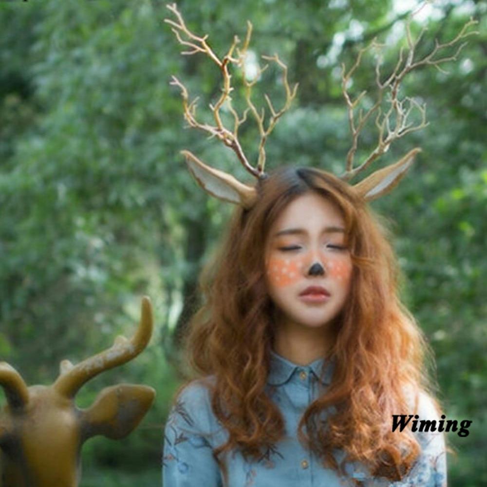 Buck Deer Antler Costume Headband Doe Bambi Woodland Reindeer Horns US Seller