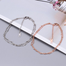 2020 New Trend Cute Beads Anklet for Women Girls Stainless Steel Double Layer Beads Anklet&Bracelet Charms Simple Jewelry Gifts