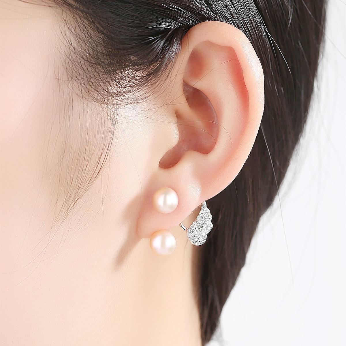 YUEYIN Earrings 2019 100 Real Silver Stud Earrings for Women Angel Wings Earrings Nature Pearl Earrings White Pink Wholesale in Earrings from Jewelry Accessories
