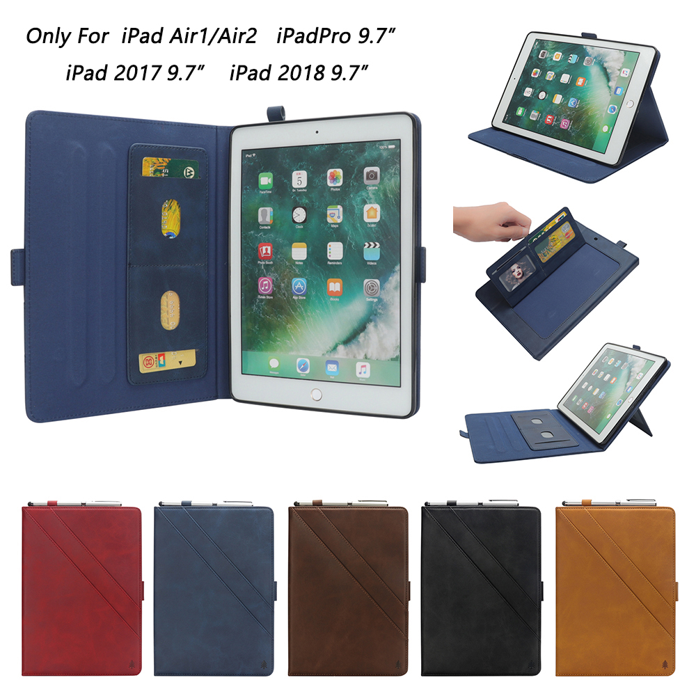For iPad 9.7 2018 2017 Case Cover for iPad Air 2 Air 1 Case 5 6 5th 6th Generation Funda Business PU Leather Smart Coque