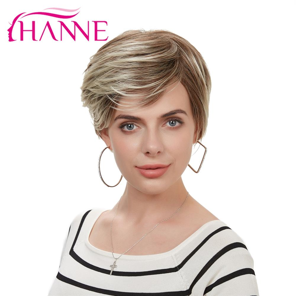 HANNE Mix Brown And Blonde High Temperature Synthetic Hair Wigs Hand Made Top Wig Heat Resistant African American Short Wig