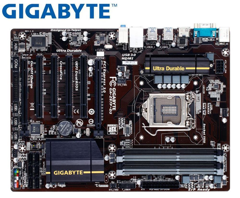 GIGABYTE GA-Z87P-D3  Original Mainboard DDR3 LGA 1150 Z87P-D3 32GB USB3.0 USB2.0 Z87 Used Desktop Motherboard