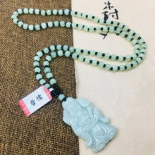 Zheru Jewelry Pure Natural Jadeite Carved Light Green Send Treasure Patron Saint Pendant with Green Bead Necklace Sweater Chain(China)