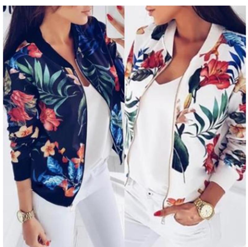 H9bac9673860742188d526e741b3e671e8 Woman Coat Plus Size Printed Bomber Jacket 2020 Women Pockets Zipper Long Sleeve Coat Female Flower Chiffon White Jacket Woman