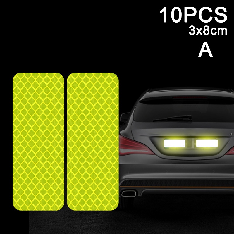 10pcs Car Door Sticker Decal Warning Tape Reflective Sticker Reflective Strip LB88