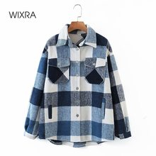 Wixra Womens Plaid Shirt Jacket Coat Ladies Pockets Thick Turn Down Collar Plus Size Female Outerwear