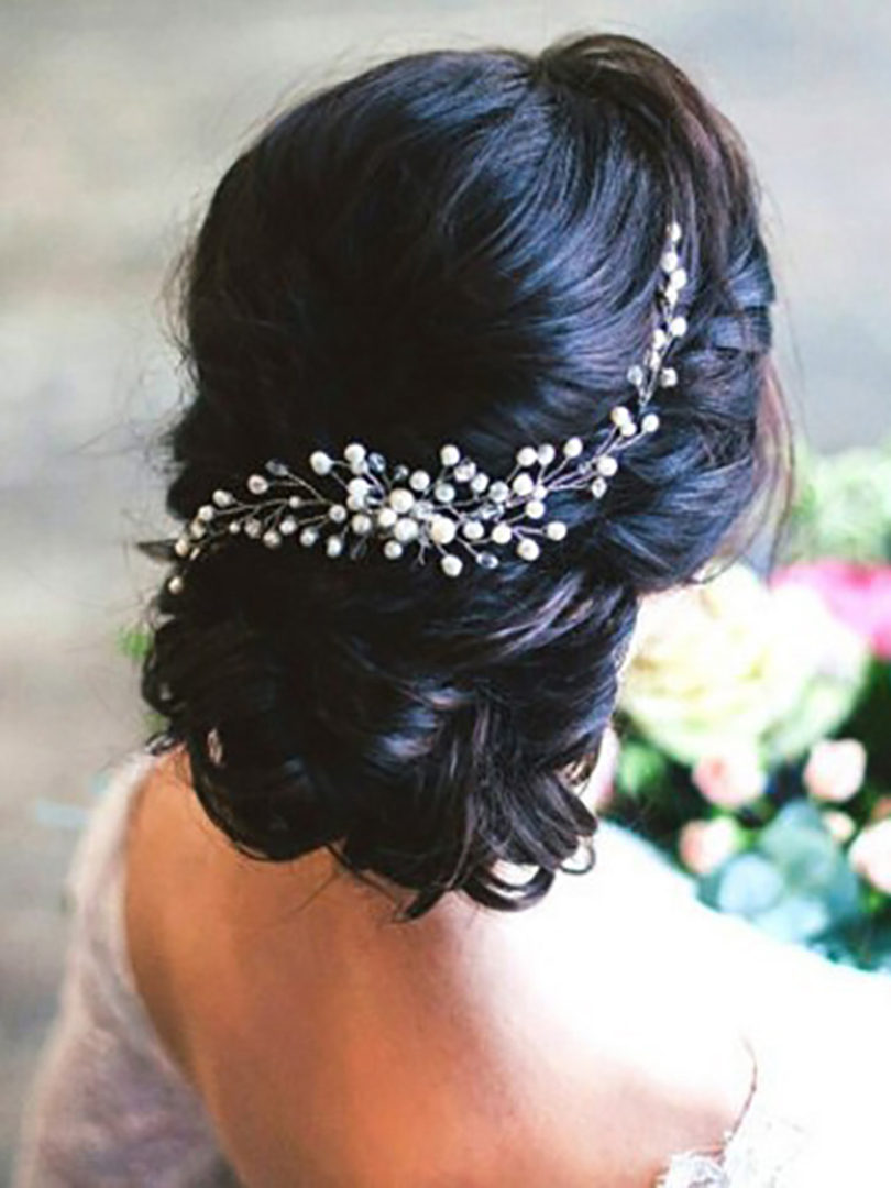 Beautiful Bride Headdress Comb Wedding Dress Hair Accessories Clip Hair Pins For Women Pearl Jewelry Bridal Hair Ornaments