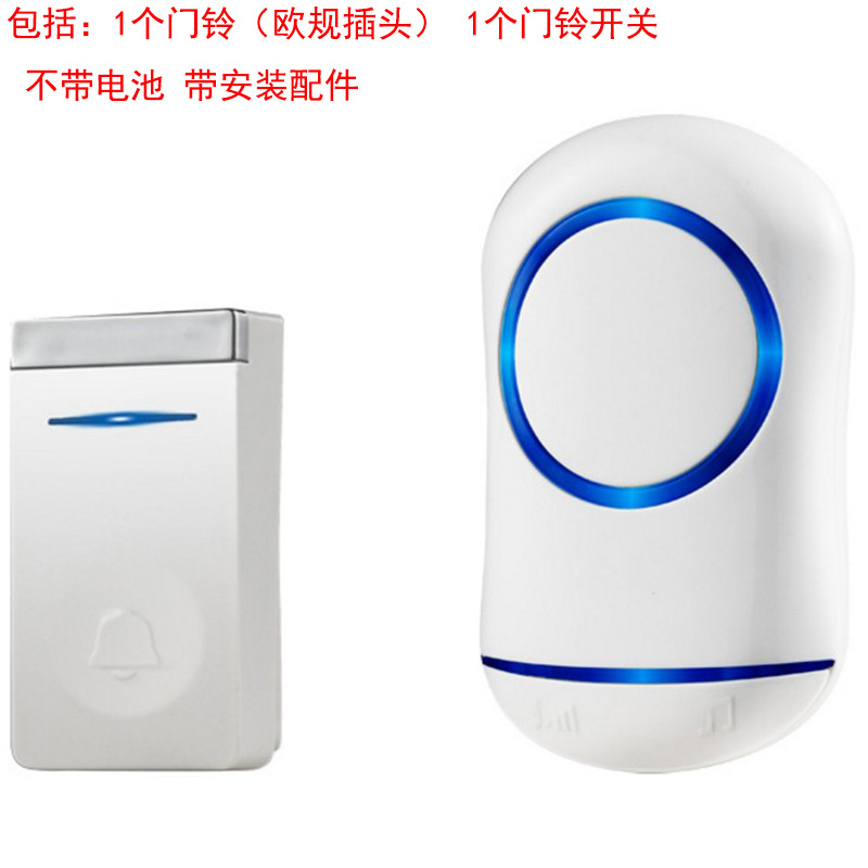 ABKT-Eu Plug Self Generation Wireless Doorbell Home Smart Electronic Remote Control Long Distance Cordless Doorbell
